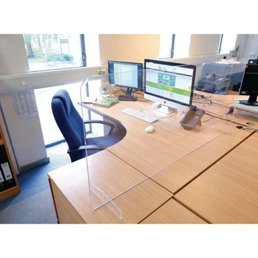 A work desk set up with protection screens in place